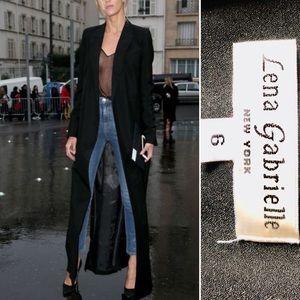 Lena Gabrielle Black Maxi Duster Jacket Sz 6